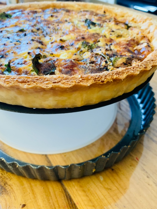 Remove the quiche from the tin
